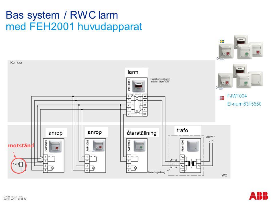Bas system / RWC larm med FEH2001 huvudapparat motstånd anrop återställning larm trafo FJW1003 E-Nr 5506092 FJW1004 El-num 6315560 © ABB Group WA July