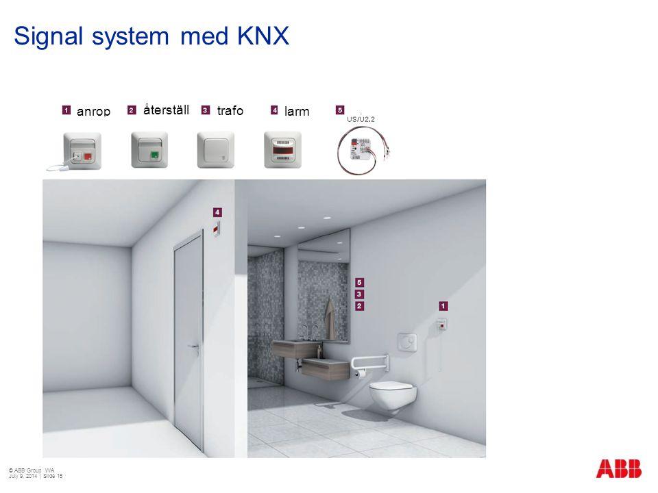 Signal system med KNX anrop återställ ning trafo larm © ABB Group WA July 9, 2014 | Slide 15