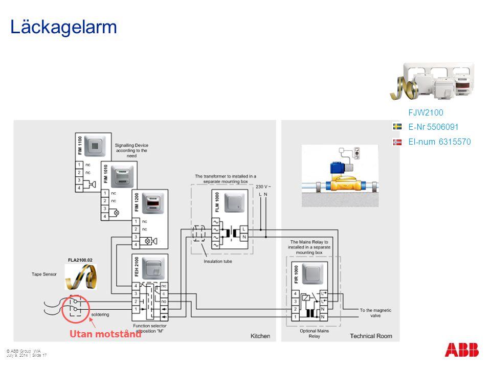 Läckagelarm Utan motstånd FJW2100 E-Nr 5506091 El-num 6315570 © ABB Group WA July 9, 2014 | Slide 17