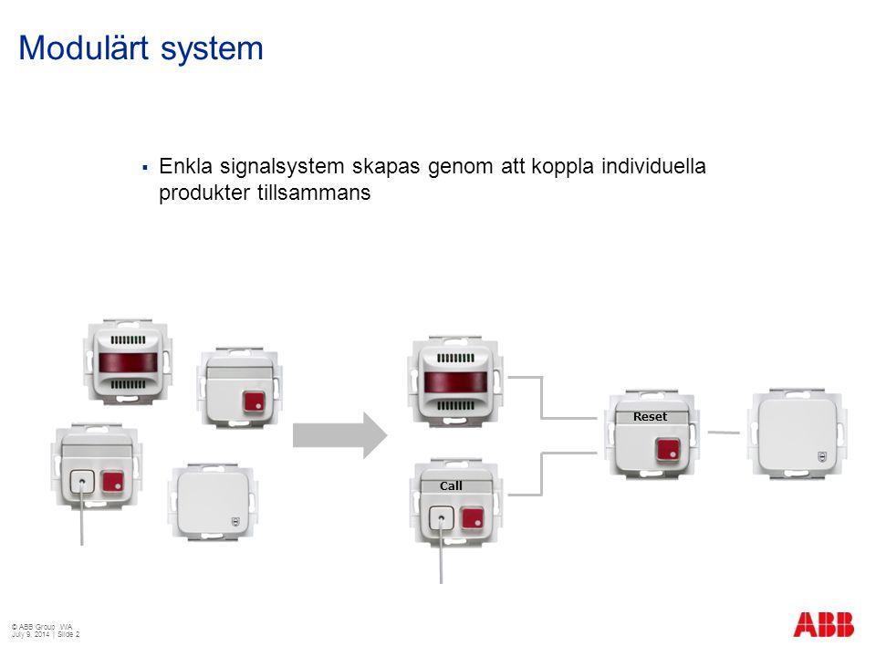 Modulärt system  Enkla signalsystem skapas genom att koppla individuella produkter tillsammans Call Reset © ABB Group WA July 9, 2014 | Slide 2