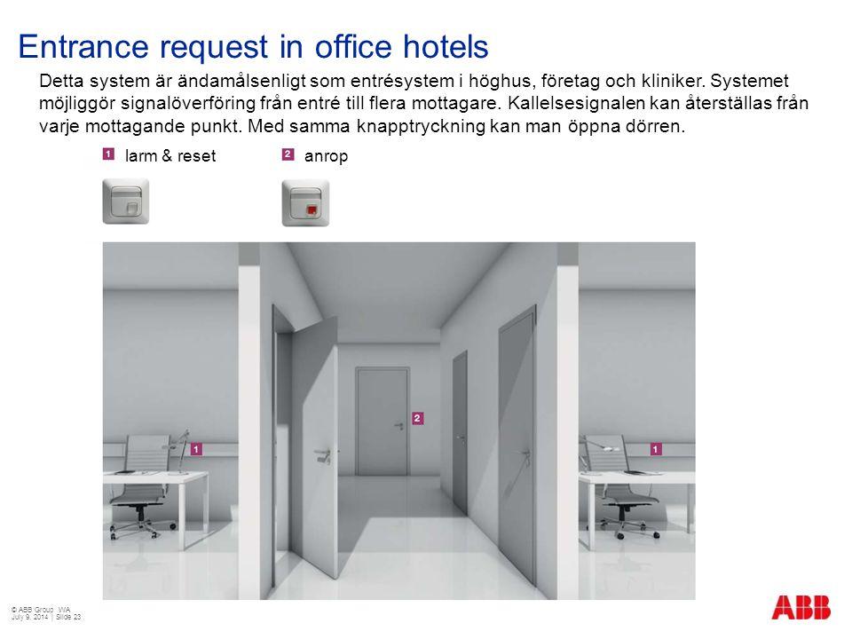 Entrance request in office hotels Detta system är ändamålsenligt som entrésystem i höghus, företag och kliniker. Systemet möjliggör signalöverföring f