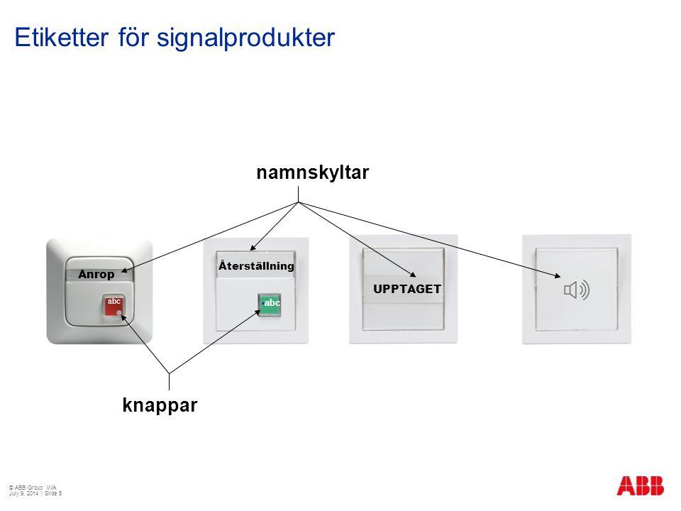Etiketter för signalprodukter Anrop Återställning UPPTAGET namnskyltar knappar  abc © ABB Group WA July 9, 2014 | Slide 5