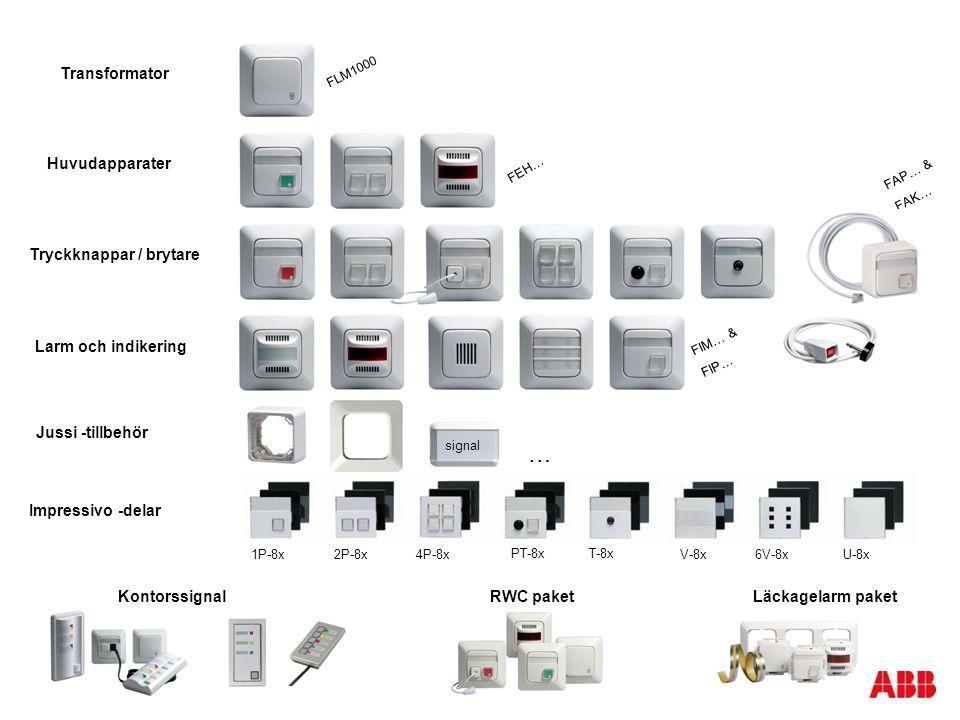 Huvudapparater Larm och indikering Jussi -tillbehör Transformator Impressivo -delar FLM1000 FEH… FAP… & FAK… FIM… & FIP… Tryckknappar / brytare Kontor