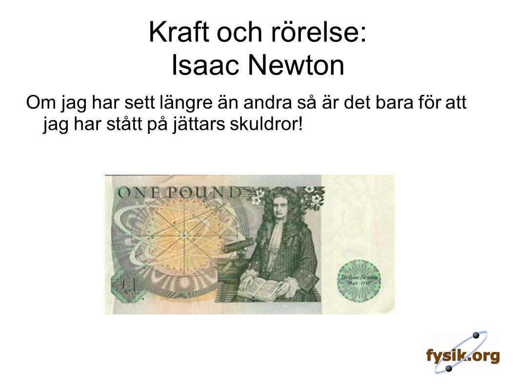 Kraft och rörelse: Isaac Newton Om jag har sett längre än andra så är det bara för att jag har stått på jättars skuldror!