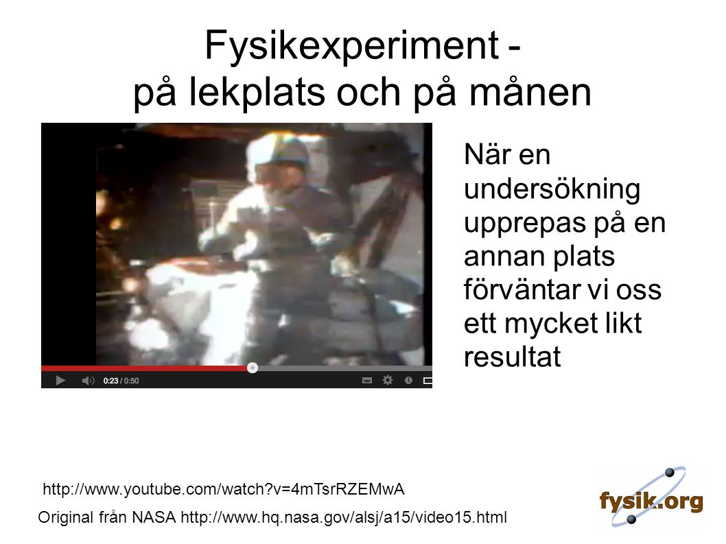 Original från NASA http://www.hq.nasa.gov/alsj/a15/video15.html http://www.youtube.com/watch?v=4mTsrRZEMwA Fysikexperiment - på lekplats och på månen När en undersökning upprepas på en annan plats förväntar vi oss ett mycket likt resultat