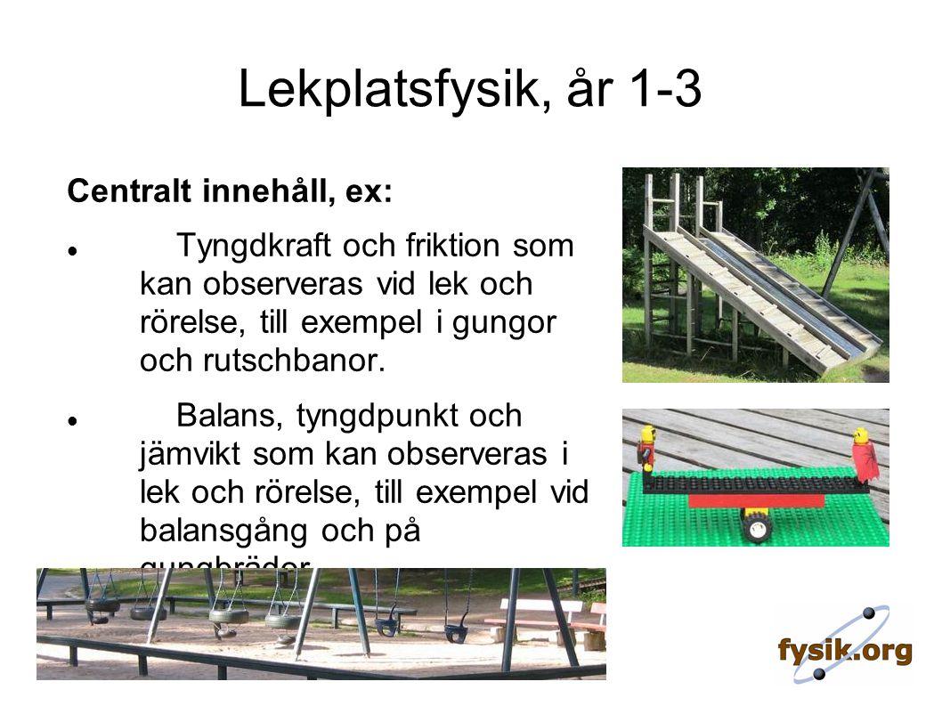 Lekplatsfysik, år 1-3 Centralt innehåll, ex: Tyngdkraft och friktion som kan observeras vid lek och rörelse, till exempel i gungor och rutschbanor.