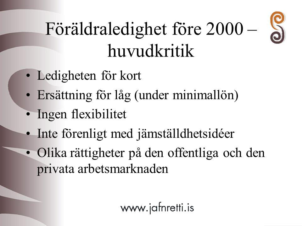 Föräldraledighet före 2000 – huvudkritik Ledigheten för kort Ersättning för låg (under minimallön) Ingen flexibilitet Inte förenligt med jämställdhets
