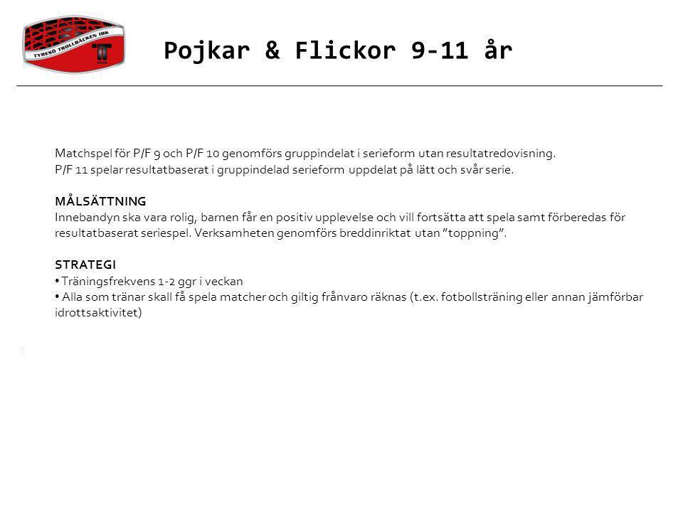 Matchspel för P/F 9 och P/F 10 genomförs gruppindelat i serieform utan resultatredovisning. P/F 11 spelar resultatbaserat i gruppindelad serieform upp