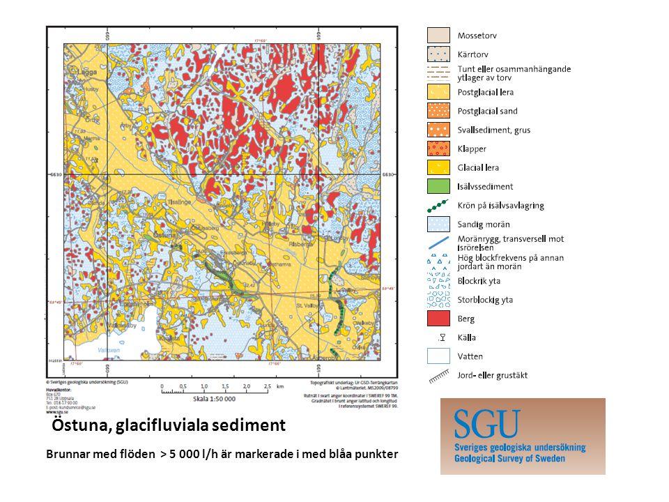 Östuna, glacifluviala sediment Brunnar med flöden > 5 000 l/h är markerade i med blåa punkter