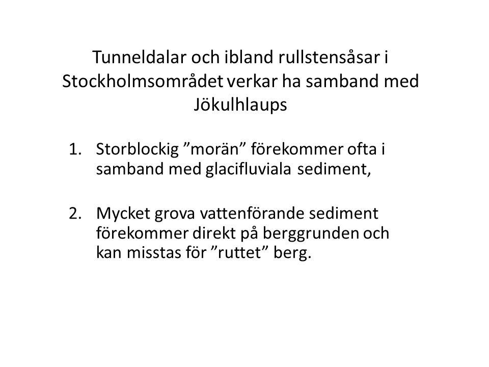 """Tunneldalar och ibland rullstensåsar i Stockholmsområdet verkar ha samband med Jökulhlaups 1.Storblockig """"morän"""" förekommer ofta i samband med glacifl"""