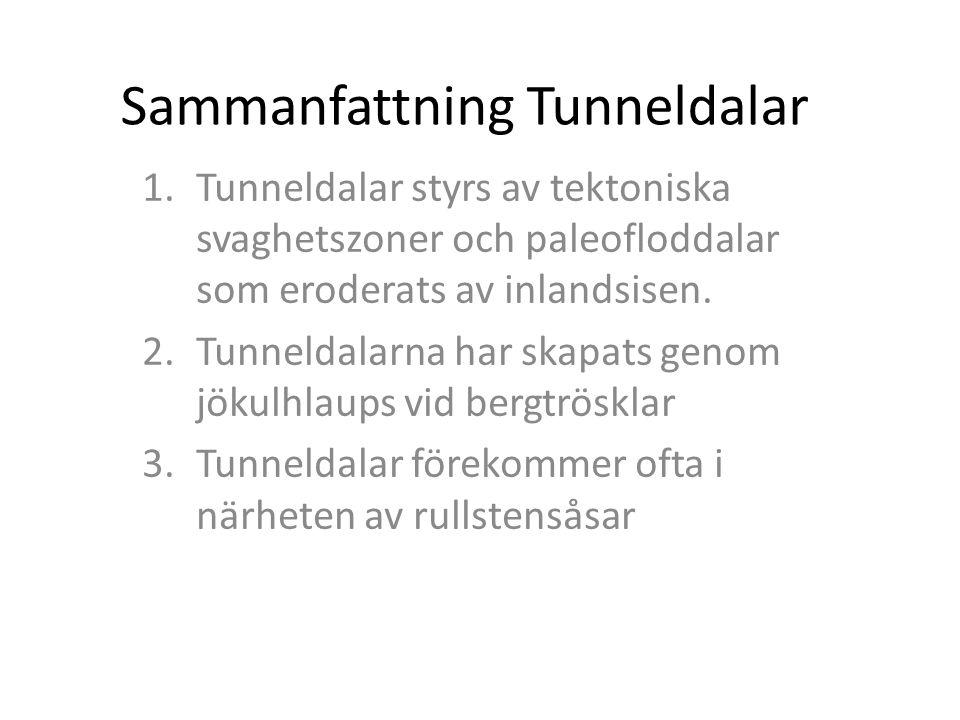 Sammanfattning Tunneldalar 1.Tunneldalar styrs av tektoniska svaghetszoner och paleofloddalar som eroderats av inlandsisen. 2.Tunneldalarna har skapat