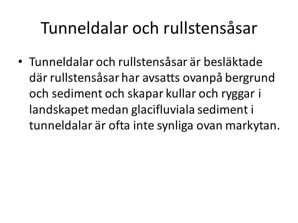 Tunneldalar och rullstensåsar Tunneldalar och rullstensåsar är besläktade där rullstensåsar har avsatts ovanpå bergrund och sediment och skapar kullar