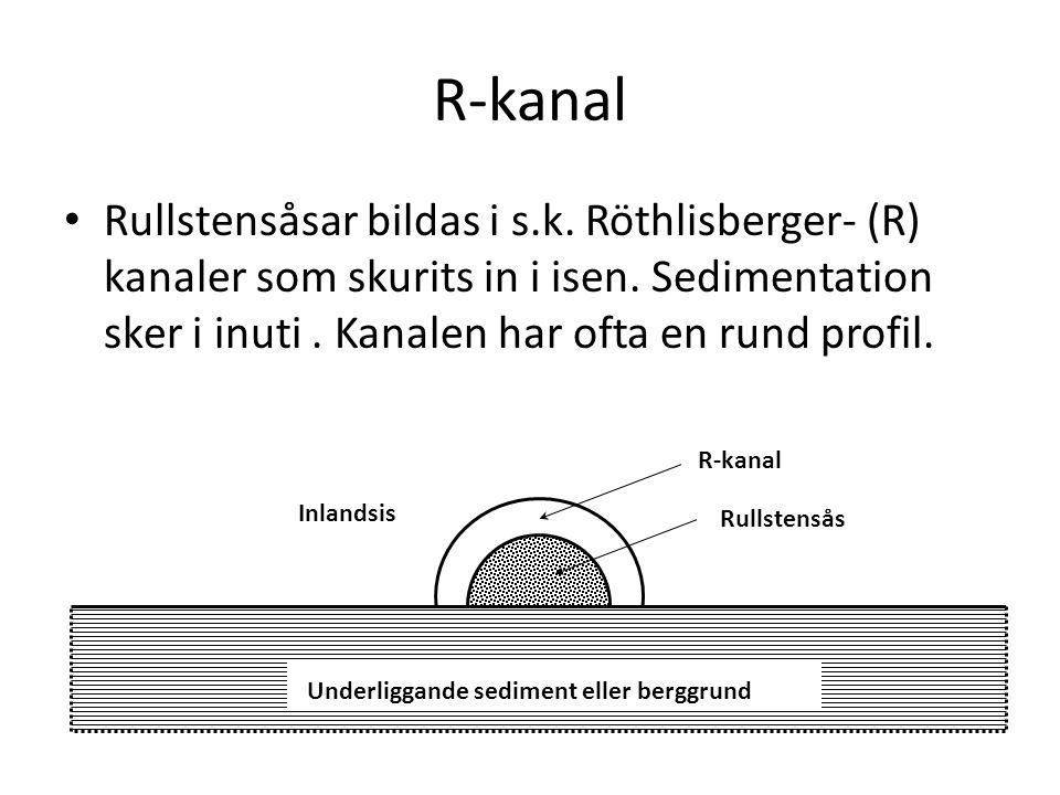 R-kanal Rullstensåsar bildas i s.k. Röthlisberger- (R) kanaler som skurits in i isen. Sedimentation sker i inuti. Kanalen har ofta en rund profil. Inl