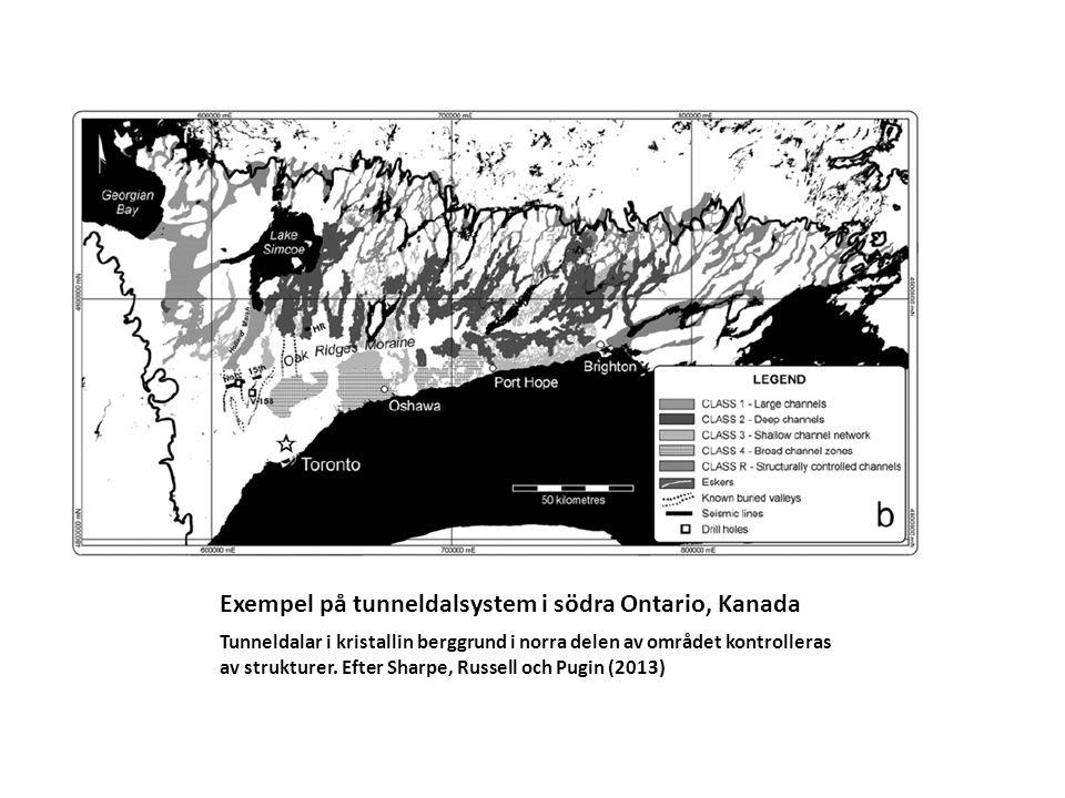 Exempel på tunneldalsystem i södra Ontario, Kanada Tunneldalar i kristallin berggrund i norra delen av området kontrolleras av strukturer. Efter Sharp