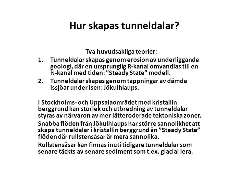 Tunneldalar och ibland rullstensåsar i Stockholmsområdet verkar ha samband med Jökulhlaups 1.Storblockig morän förekommer ofta i samband med glacifluviala sediment, 2.Mycket grova vattenförande sediment förekommer direkt på berggrunden och kan misstas för ruttet berg.