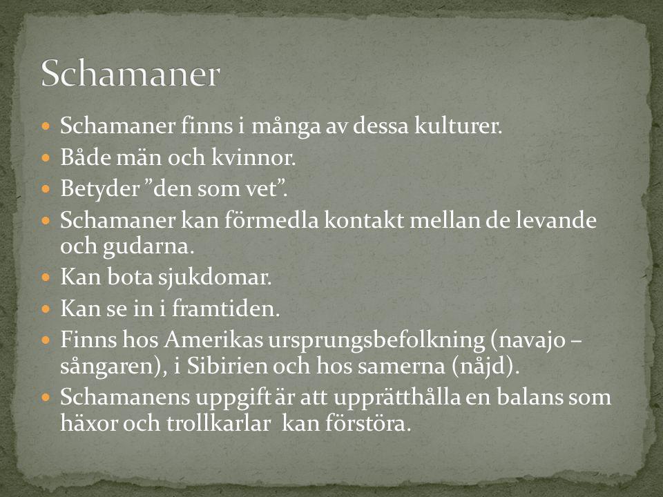 """Schamaner finns i många av dessa kulturer. Både män och kvinnor. Betyder """"den som vet"""". Schamaner kan förmedla kontakt mellan de levande och gudarna."""