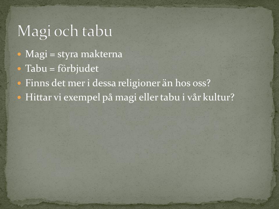 Magi = styra makterna Tabu = förbjudet Finns det mer i dessa religioner än hos oss? Hittar vi exempel på magi eller tabu i vår kultur?