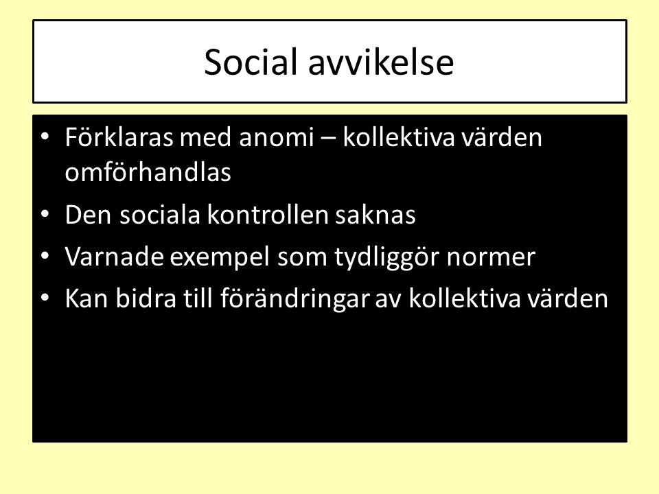 Social avvikelse Förklaras med anomi – kollektiva värden omförhandlas Den sociala kontrollen saknas Varnade exempel som tydliggör normer Kan bidra til