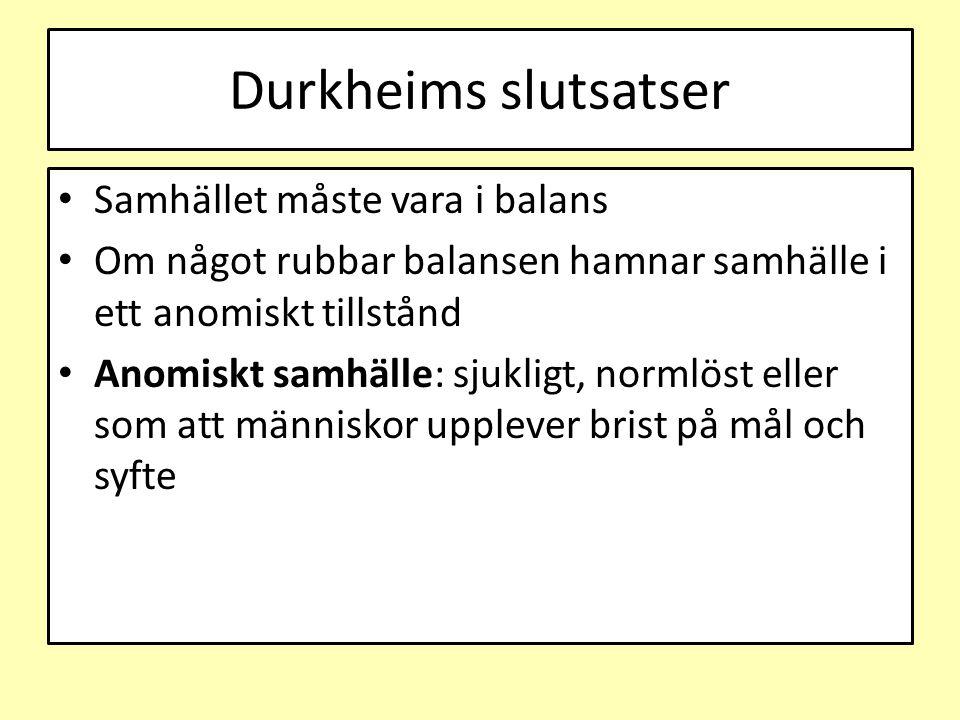 Durkheims slutsatser Samhället måste vara i balans Om något rubbar balansen hamnar samhälle i ett anomiskt tillstånd Anomiskt samhälle: sjukligt, norm