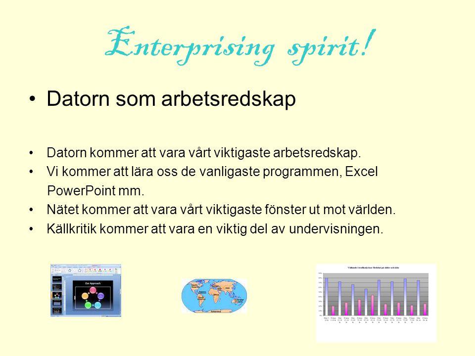 Enterprising spirit! Datorn som arbetsredskap Datorn kommer att vara vårt viktigaste arbetsredskap. Vi kommer att lära oss de vanligaste programmen, E