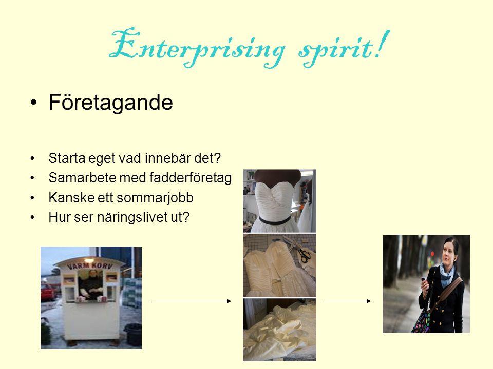 Enterprising spirit! Företagande Starta eget vad innebär det? Samarbete med fadderföretag Kanske ett sommarjobb Hur ser näringslivet ut?