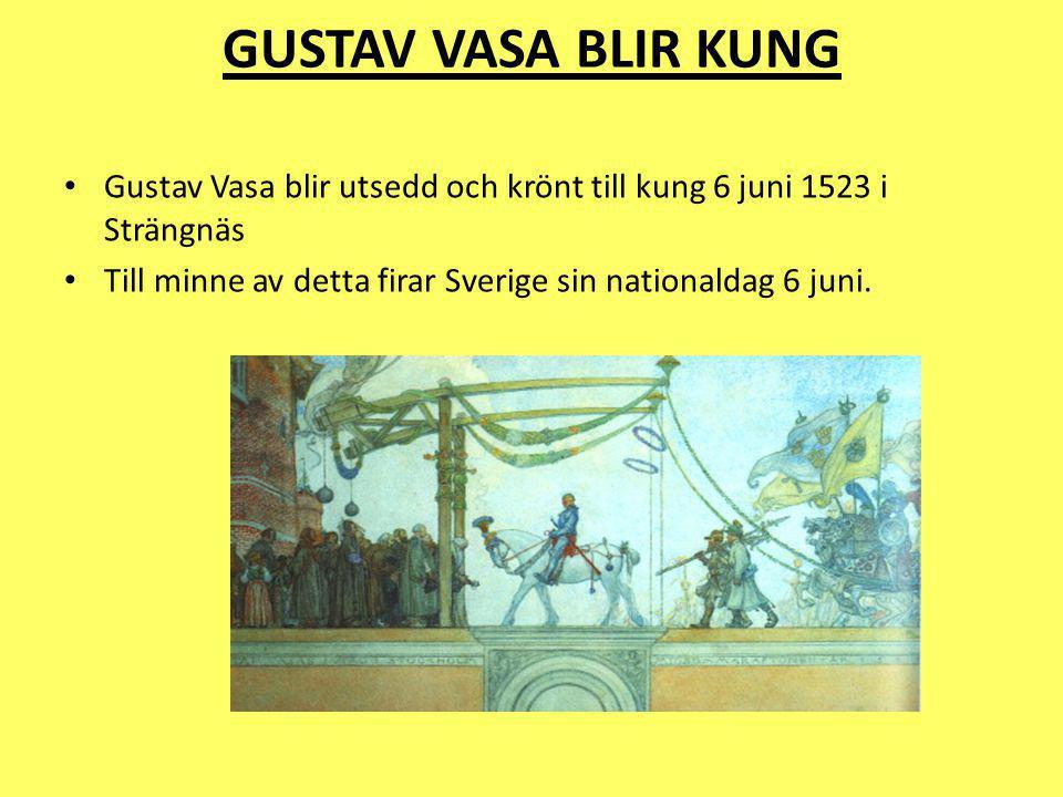 Gustav Vasas regeringstid Regerade i 30 år,från år 1523 ända till hans död Han centraliserade kungamakten och gjorde Sverige till en byråkrati Han kallas för Sveriges landsfader och han var den första monarken som styrde ett enat Sverige Han utförde många reformationer och ändringar under sin tid som kung Han styrde Sverige som en storgodsägare, han ville bestämma över allt och gav inte efter i något Hans regeringstid var våldsam i Sverige.
