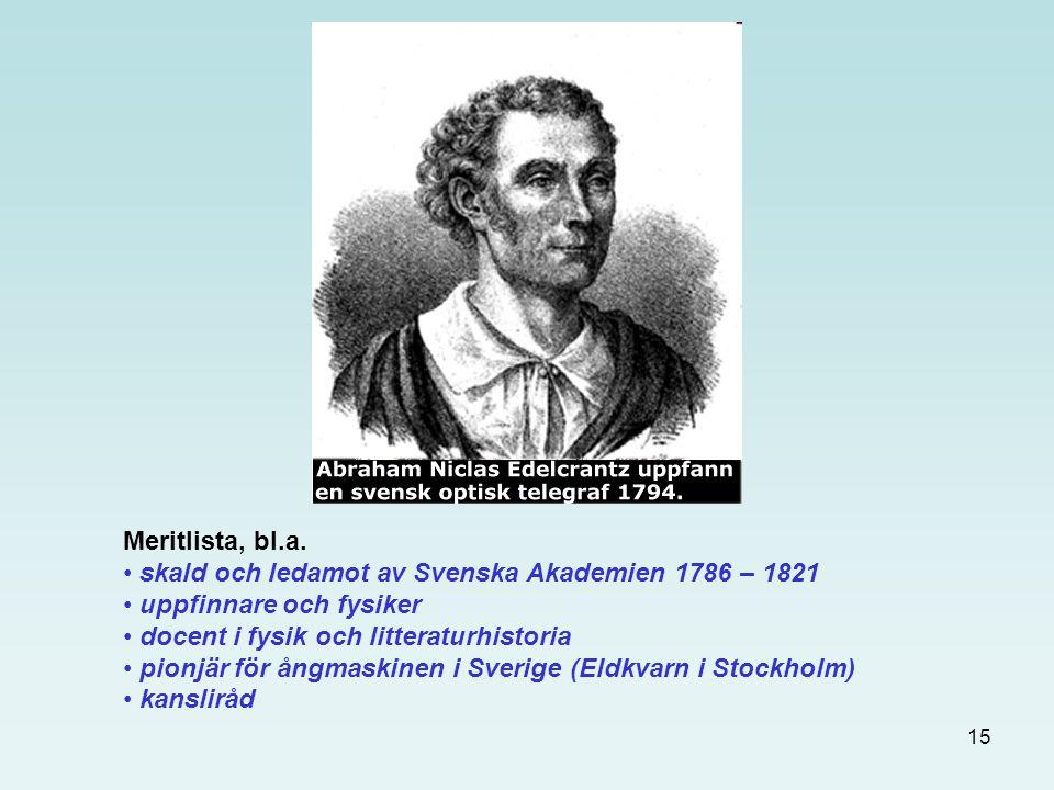 15 Meritlista, bl.a. skald och ledamot av Svenska Akademien 1786 – 1821 uppfinnare och fysiker docent i fysik och litteraturhistoria pionjär för ångma