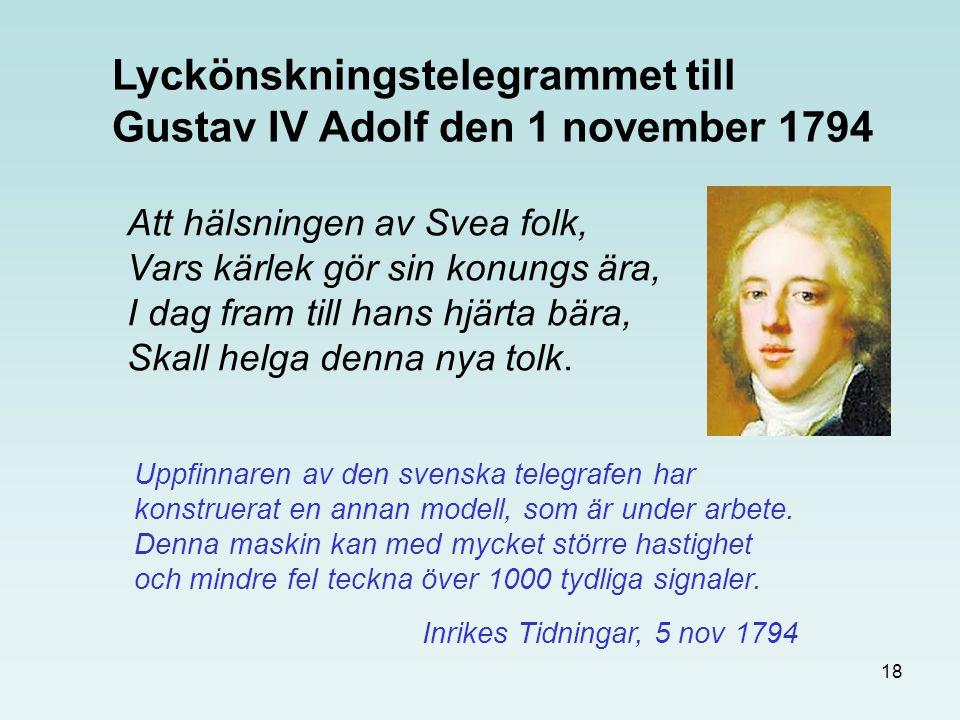 18 Att hälsningen av Svea folk, Vars kärlek gör sin konungs ära, I dag fram till hans hjärta bära, Skall helga denna nya tolk. Lyckönskningstelegramme