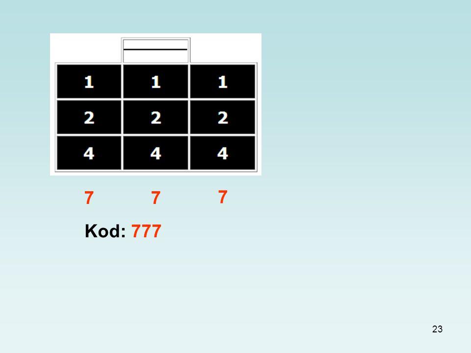23 7 7 Kod: 777 7