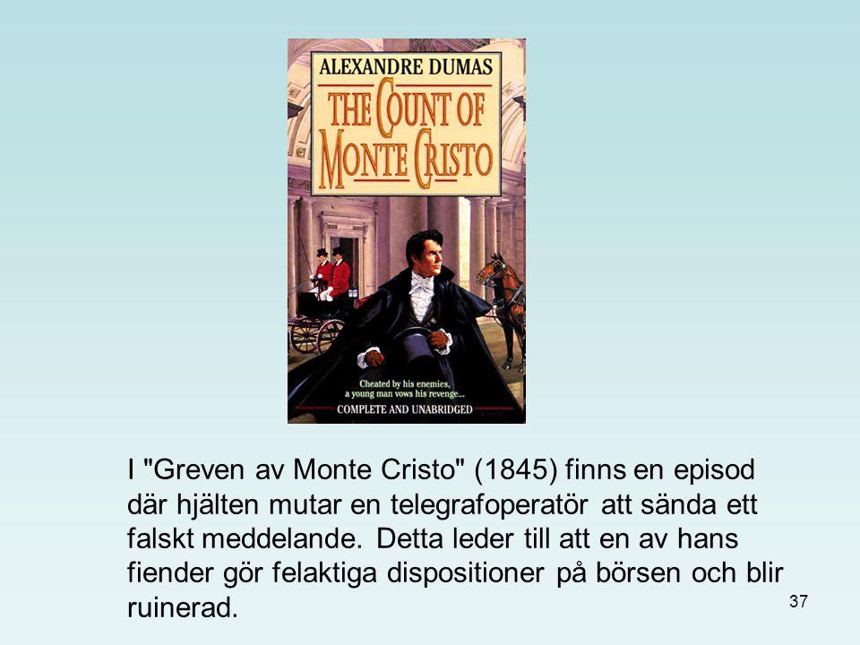 37 I Greven av Monte Cristo (1845) finns en episod där hjälten mutar en telegrafoperatör att sända ett falskt meddelande.