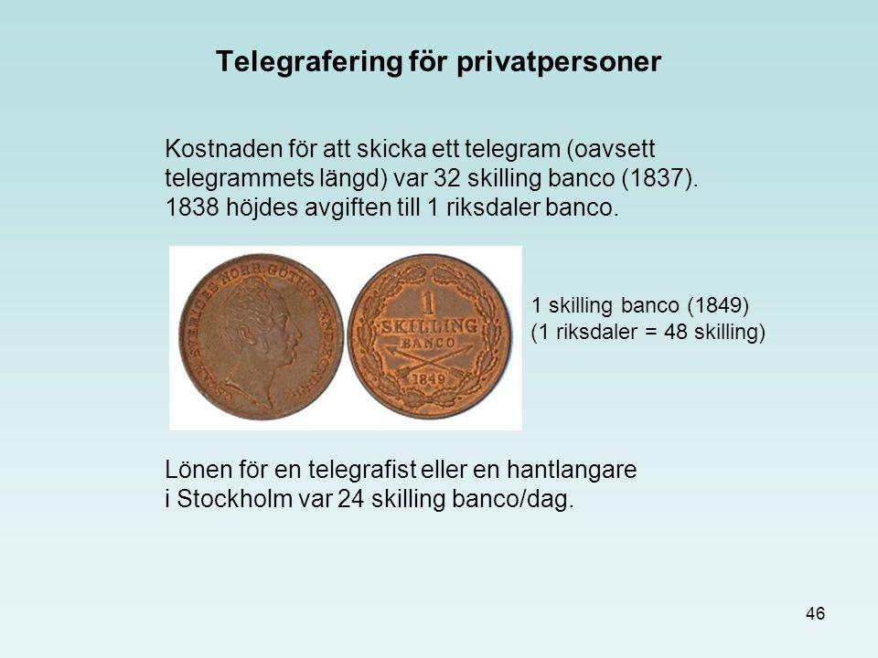 46 Telegrafering för privatpersoner Kostnaden för att skicka ett telegram (oavsett telegrammets längd) var 32 skilling banco (1837). 1838 höjdes avgif