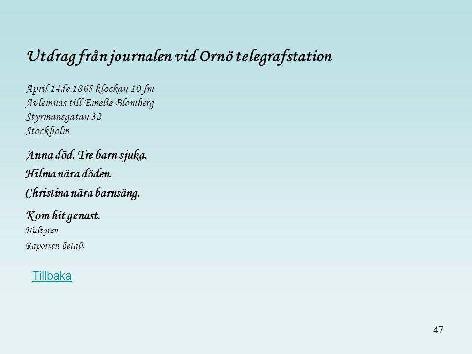 47 April 14de 1865 klockan 10 fm Avlemnas till Emelie Blomberg Styrmansgatan 32 Stockholm Anna död. Tre barn sjuka. Christina nära barnsäng. Kom hit g