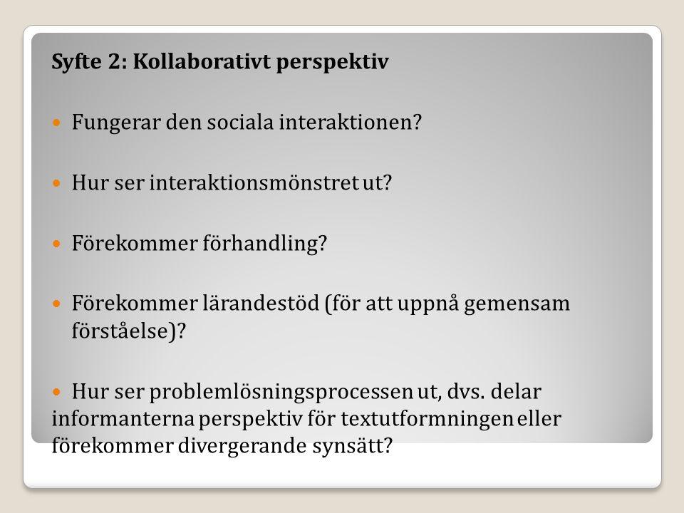 Syfte 2: Kollaborativt perspektiv Fungerar den sociala interaktionen.