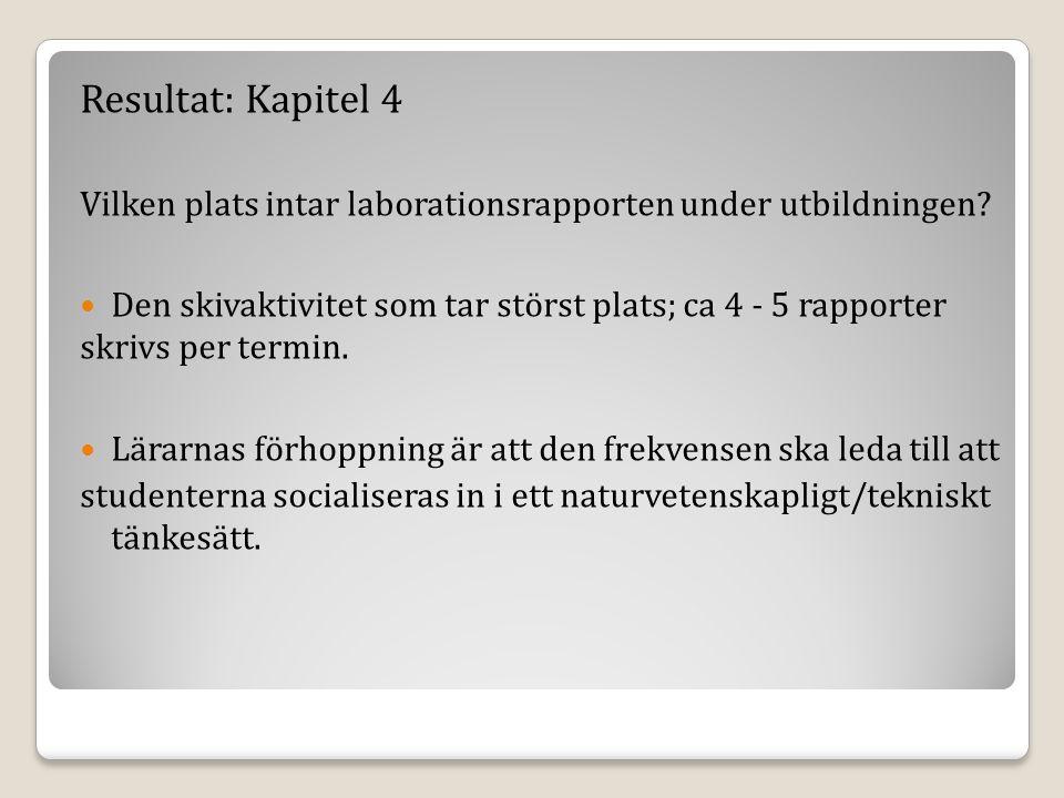 Resultat: Kapitel 4 Vilken plats intar laborationsrapporten under utbildningen.