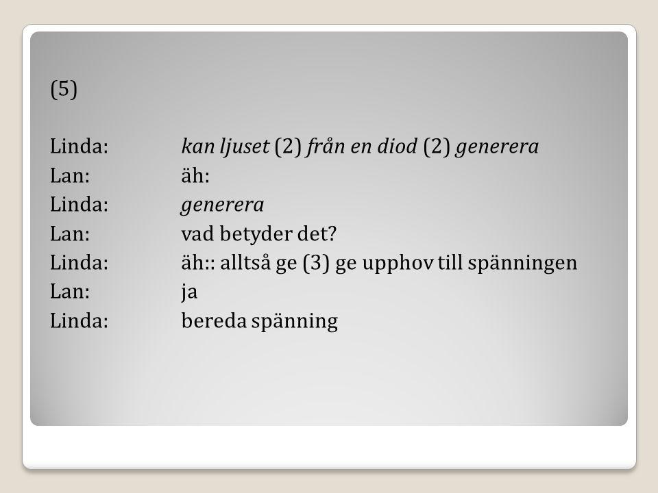 (5) Linda:kan ljuset (2) från en diod (2) generera Lan:äh: Linda:generera Lan:vad betyder det.