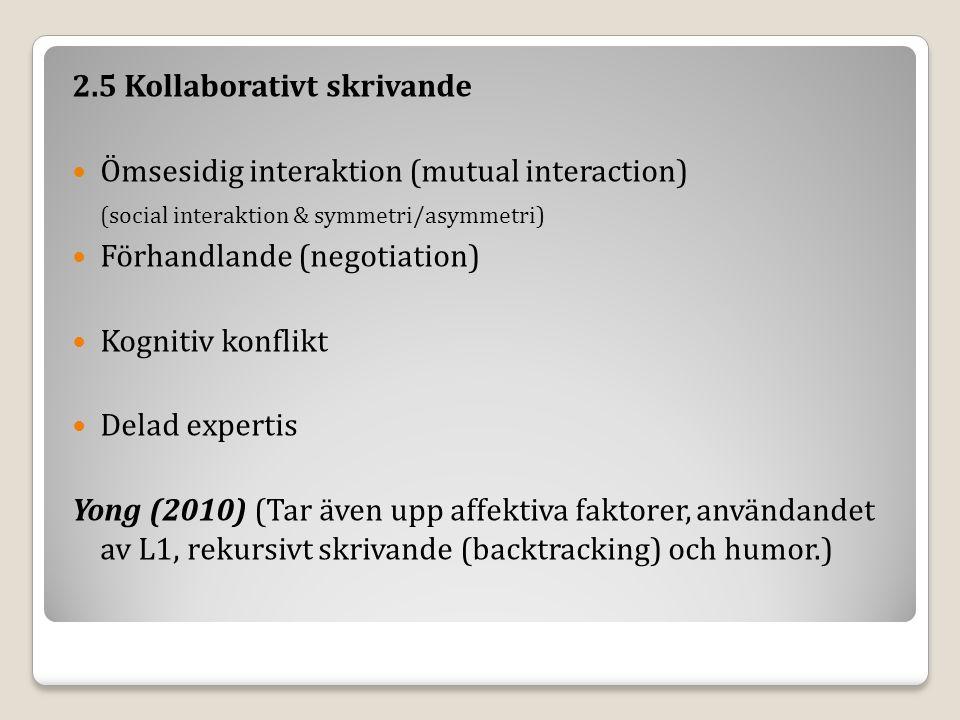 2.5 Kollaborativt skrivande Ömsesidig interaktion (mutual interaction) (social interaktion & symmetri/asymmetri) Förhandlande (negotiation) Kognitiv konflikt Delad expertis Yong (2010) (Tar även upp affektiva faktorer, användandet av L1, rekursivt skrivande (backtracking) och humor.)