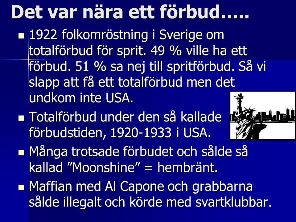 Det var nära ett förbud….. 1922 folkomröstning i Sverige om totalförbud för sprit. 49 % ville ha ett förbud. 51 % sa nej till spritförbud. Så vi slapp