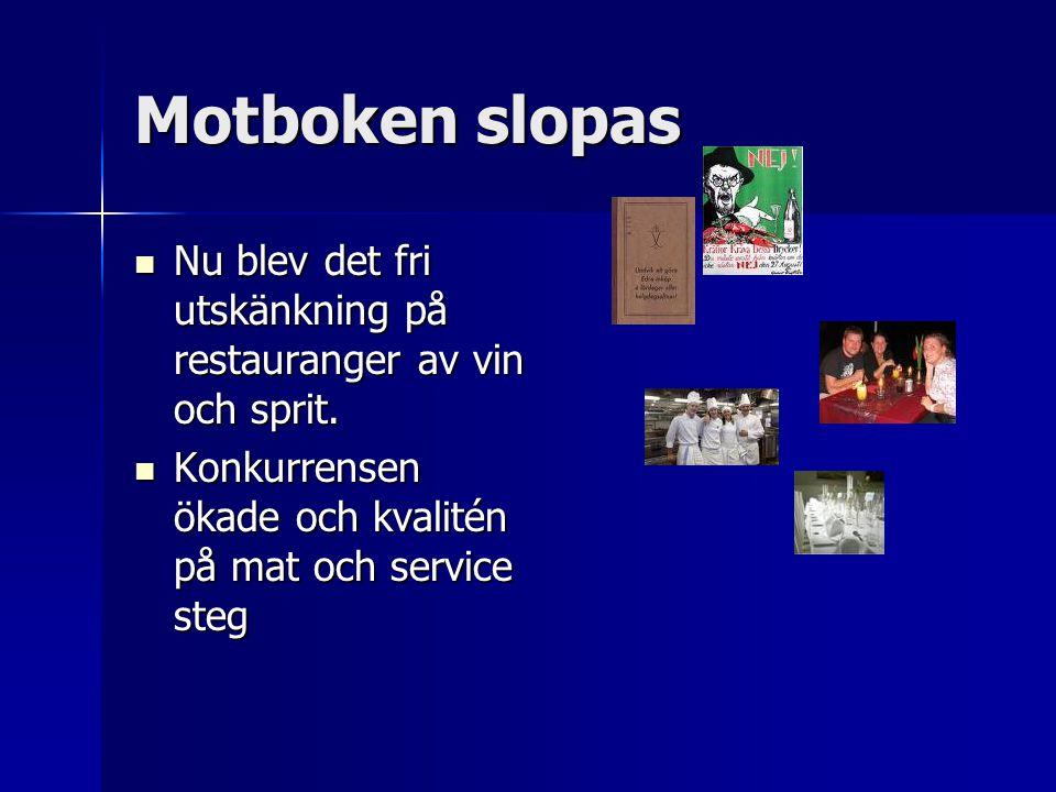 Motboken slopas Nu blev det fri utskänkning på restauranger av vin och sprit.