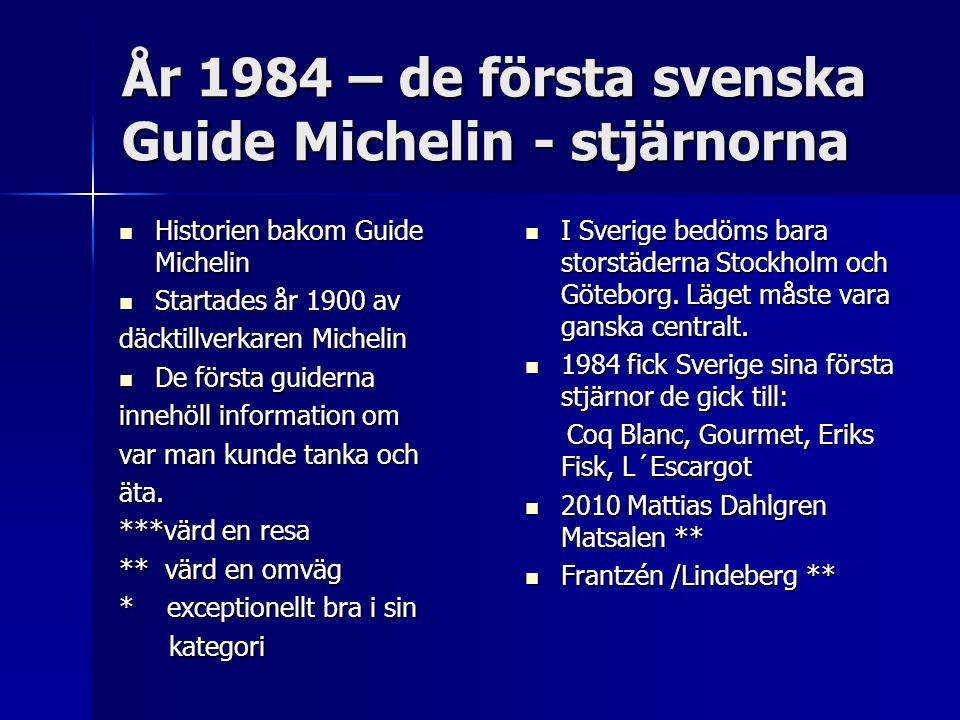 År 1984 – de första svenska Guide Michelin - stjärnorna Historien bakom Guide Michelin Historien bakom Guide Michelin Startades år 1900 av Startades år 1900 av däcktillverkaren Michelin De första guiderna De första guiderna innehöll information om var man kunde tanka och äta.