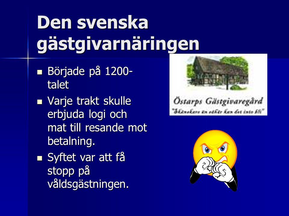 Den svenska gästgivarnäringen Började på 1200- talet Började på 1200- talet Varje trakt skulle erbjuda logi och mat till resande mot betalning.
