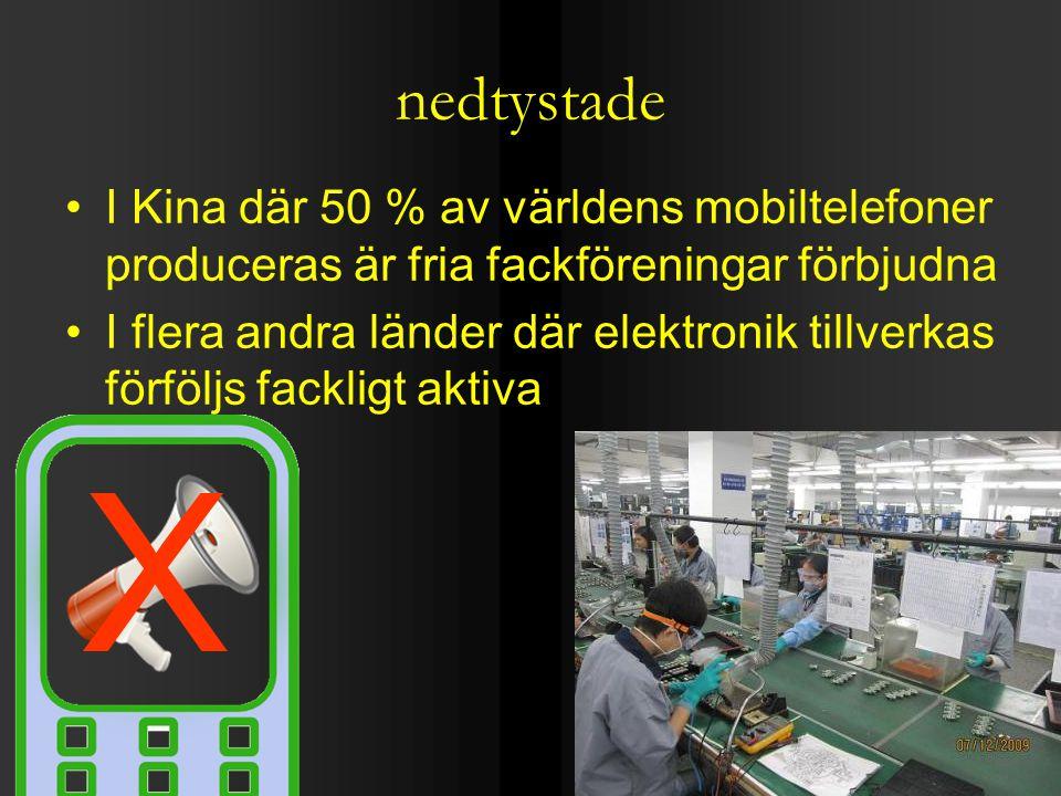 nedtystade I Kina där 50 % av världens mobiltelefoner produceras är fria fackföreningar förbjudna I flera andra länder där elektronik tillverkas förföljs fackligt aktiva X