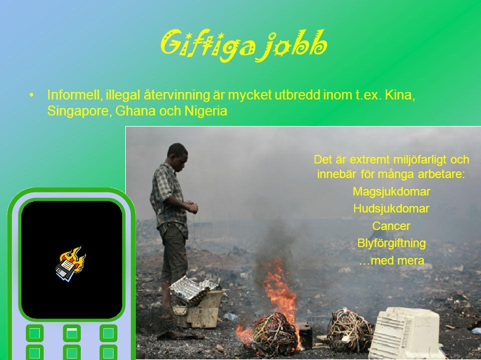 Giftiga jobb Informell, illegal återvinning är mycket utbredd inom t.ex.