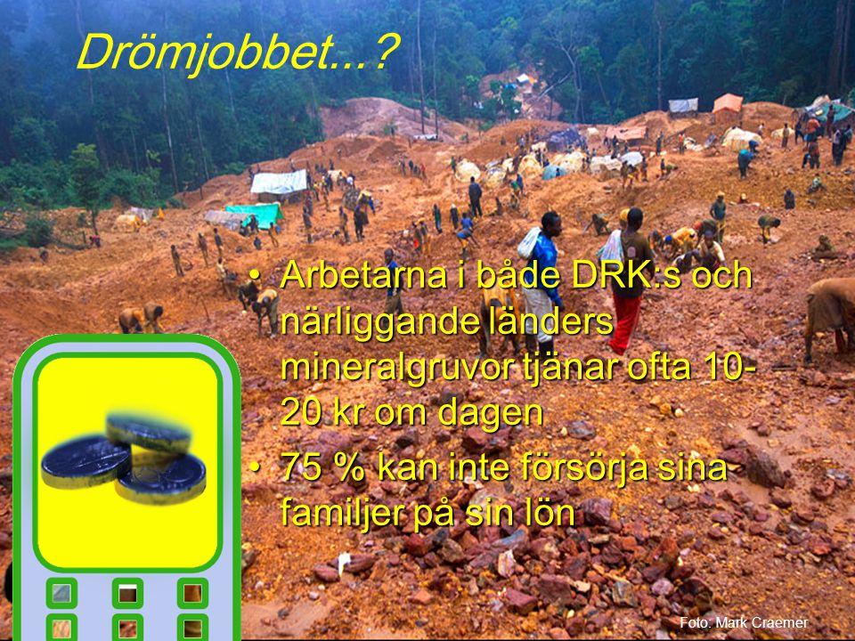 Arbetarna i både DRK:s och närliggande länders mineralgruvor tjänar ofta 10- 20 kr om dagenArbetarna i både DRK:s och närliggande länders mineralgruvor tjänar ofta 10- 20 kr om dagen 75 % kan inte försörja sina familjer på sin lön75 % kan inte försörja sina familjer på sin lön Foto: Mark Craemer Drömjobbet...
