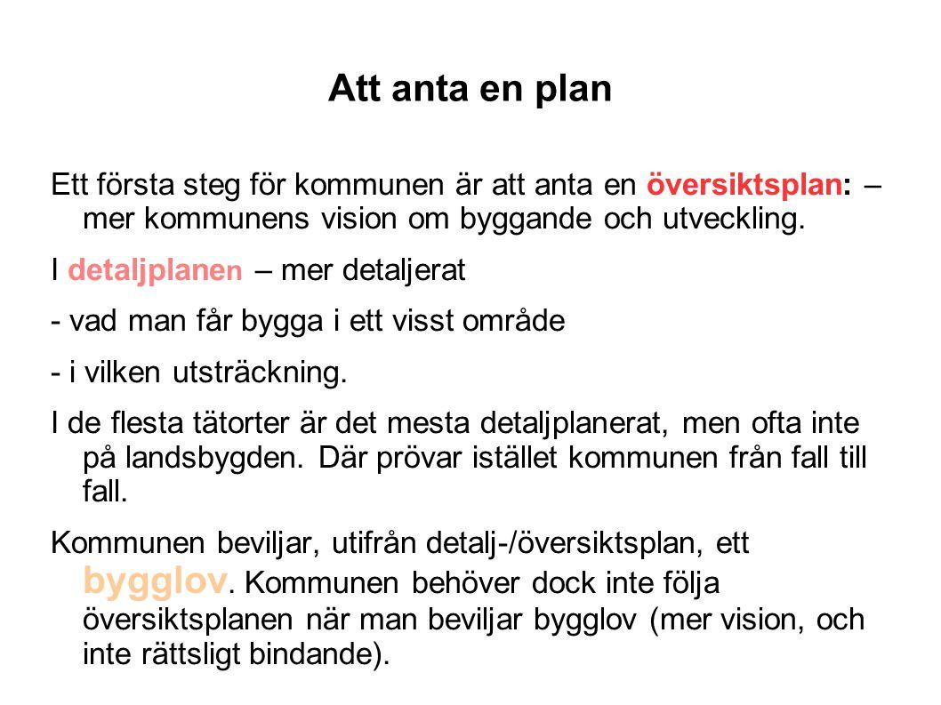 Att anta en plan Ett första steg för kommunen är att anta en översiktsplan: – mer kommunens vision om byggande och utveckling. I detaljplane n – mer d