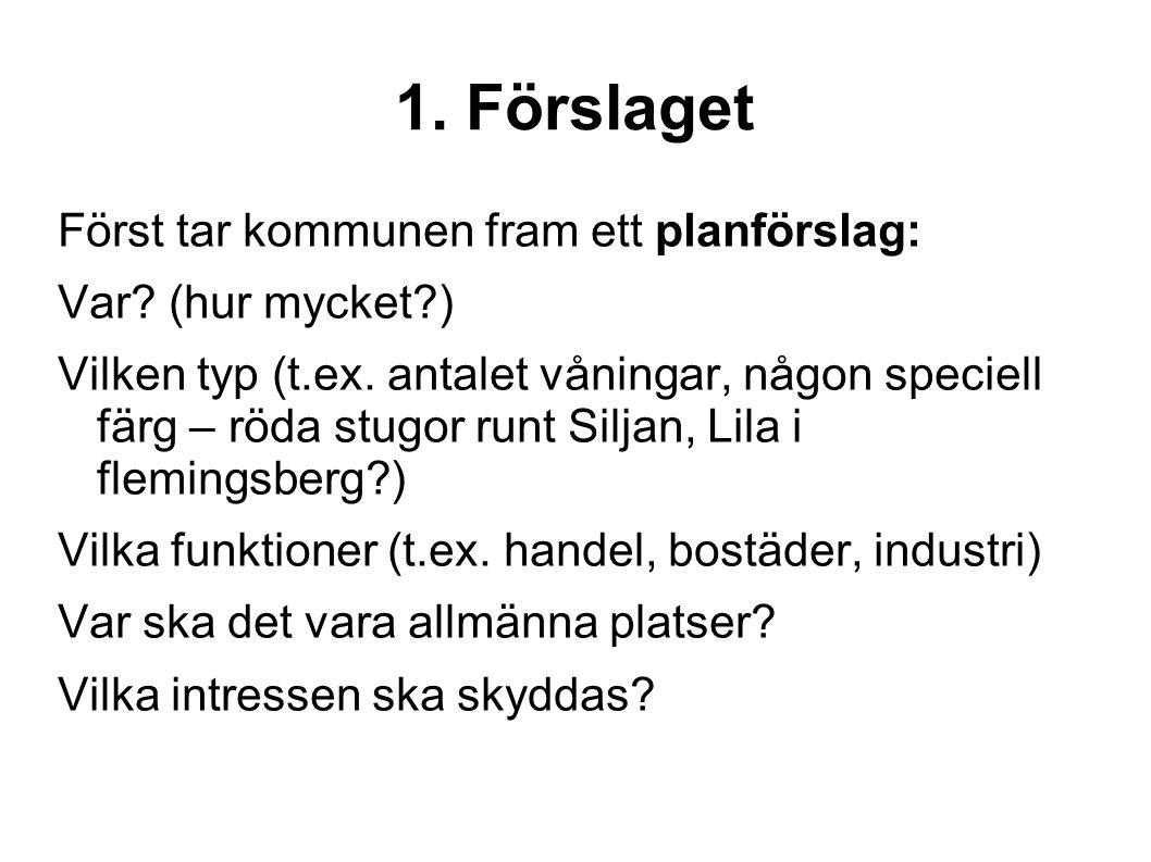 1. Förslaget Först tar kommunen fram ett planförslag: Var? (hur mycket?) Vilken typ (t.ex. antalet våningar, någon speciell färg – röda stugor runt Si