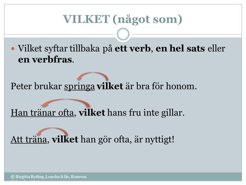VILKET (något som) © Birgitta Ryding,Luncha & lär, Komvux Södervärn 2012 Vilket syftar tillbaka på ett verb, en hel sats eller en verbfras. Peter bruk