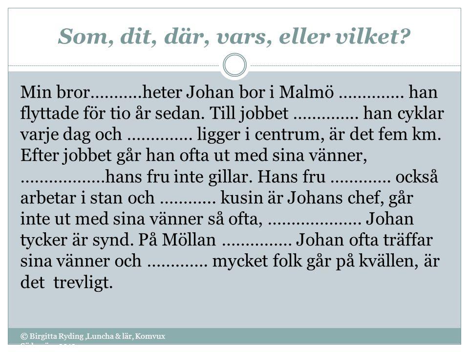 Som, dit, där, vars, eller vilket? © Birgitta Ryding,Luncha & lär, Komvux Södervärn 2012 Min bror………..heter Johan bor i Malmö ………….. han flyttade för