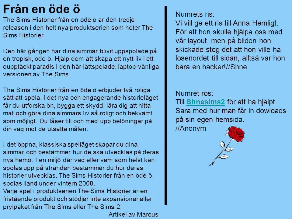Numrets ris: Vi vill ge ett ris till Anna Hemligt. För att hon skulle hjälpa oss med vår layout, men på bilden hon skickade stog det att hon ville ha