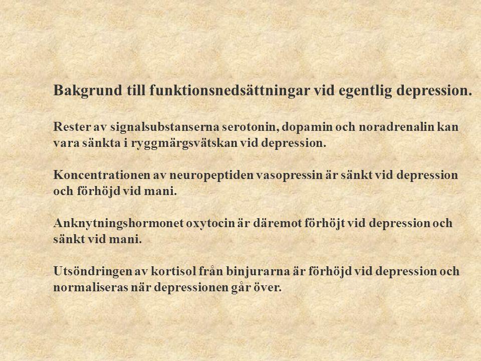 Funktionsnedsättningar vid egentlig depression Följande funktionsnedsättningar är förenligt med egentlig depression ICF benämningDiagnoskriterier Energi och driftsfunktioner minskad kraft, aptit Sömnfunktioner sömnsvårigheter Uppmärksamhetsfunktionerkoncentrationssvårigheter Minnesfunktionerförsämrat minne Psykomotoriska funktioner mimikpåverkan, hämning Emotionella funktionernedstämdhet, ångest Tankefunktionerskuldkänslor, värdelöshetskänslor Högre kognitiva funktionerorganisera tankar, planering, insikt