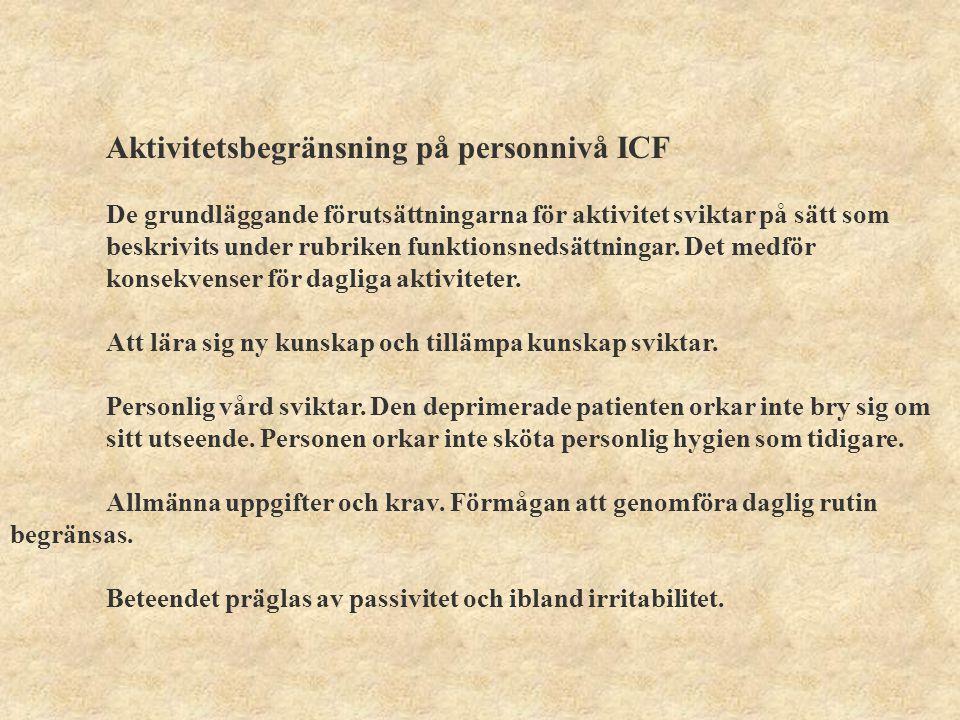 Delaktighet ICF- konsekvens på social nivå Personen isolerar sig, drar sig undan mötet med omgivningen.
